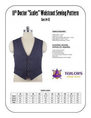"""11th Doctor """"scales"""" waistcoat sewing pattern"""