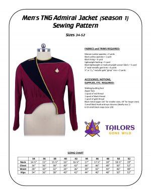 TNG admiral (season 1) sewing pattern